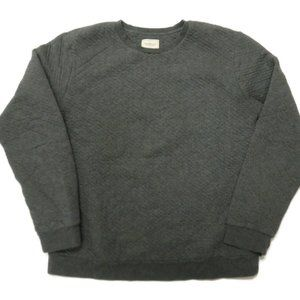 Frank and Oak Mens Large Gray Sweater Crew Quilted